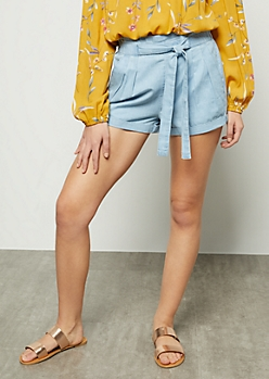 Light Blue Rolled High Waisted Tie Shorts