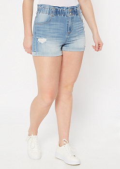 Light Wash Rolled Paperbag Waist Jean Shorts