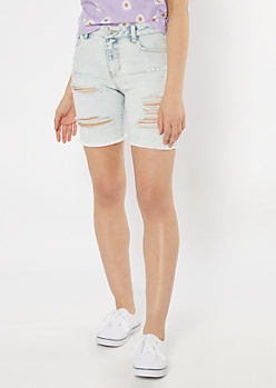 Throwback Recycled Light Wash Distressed Bermuda Jean Shorts