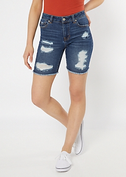 Throwback Recycled Dark Wash Distressed Bermuda Jean Shorts