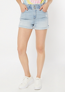 Light Wash Paperbag Waist Jean Shorts