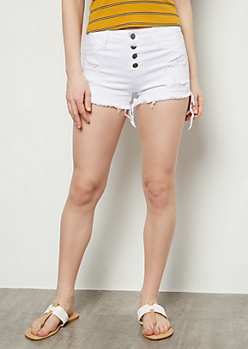 Cello White Mid Rise Button Front Frayed Hem Shorts