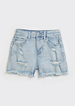 Cello Light Wash High Waisted Frayed Shorts