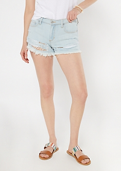 Cello Light Wash Frayed Throwback Shorts