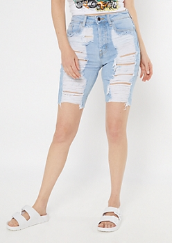 Cello Light Wash Ripped Throwback Bermuda Shorts