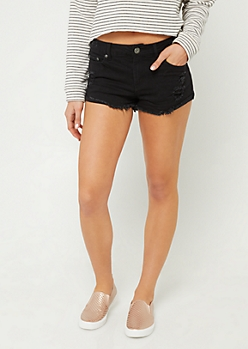 Black Mid Rise Frayed Cuff Shorts