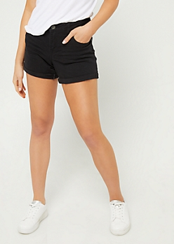 Black High Waisted Double Cuffed Midi Shorts