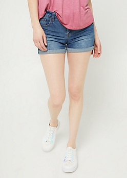Medium Wash High Waisted Double Cuffed Midi Shorts