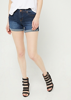 Dark Wash High Rise Double Cuffed Midi Shorts