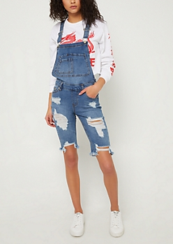 Medium Wash Distressed Bermuda Overall Shorts