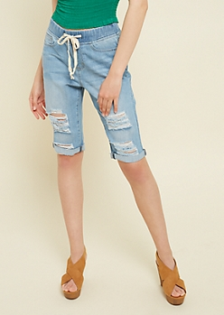 Light Wash Drawstring Waist Jean Bermuda Shorts