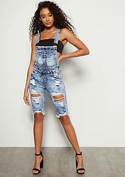 Dark Acid Wash Raw Cut Bermuda Overall Shorts