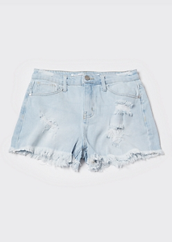 Light Wash High Waisted Frayed Jean Shorts