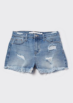 Medium Wash High Waisted Frayed Jean Shorts