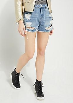 Medium Wash High Waisted Frayed Denim Shorts