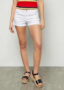 White High Waisted Rolled Cuff Booty Shorts