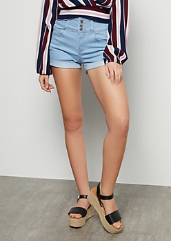 Light Wash High Waisted Rolled Cuff Booty Shorts