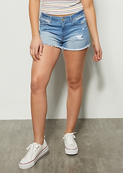 Light Wash Frayed Hem Mid Rise Jean Shorts