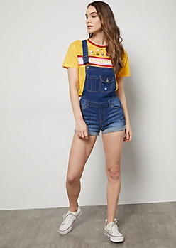 Medium Wash Rolled  Cuff Jean Overall Shorts