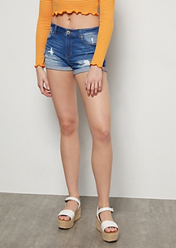 Medium Wash Distressed Rolled Cuff Jean Shorts