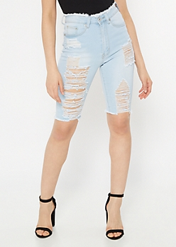 Light Wash Destruction Mid Rise Bermuda Jean Shorts
