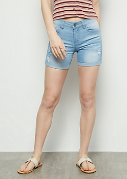 Light Wash Distressed Midi Booty Shorts