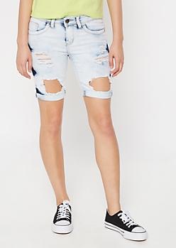 Bleach Wash Ripped Bermuda Booty Shorts