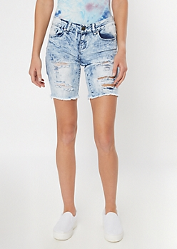 Acid Wash Cutout Distressed Bermuda Jean Shorts