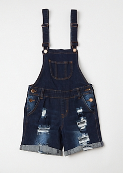 Dark Wash Distressed Rolled Cuff Overalls