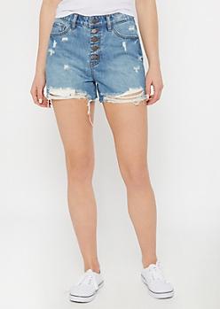KanCan Medium Wash Raw Cut Button Down Jean Shorts