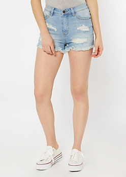 KanCan Light Wash Frayed Jean Shorts
