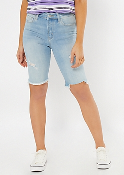 Light Wash Raw Cut Bermuda Jean Shorts