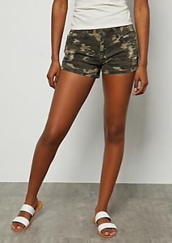Camo Print Distressed Mid Rise Shorts