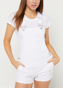 White Frayed Cuff Overall Shorts