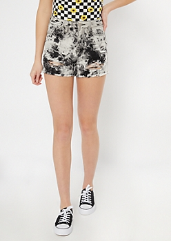 YMI Dream Black Acid Wash Ripped Jean Shorts