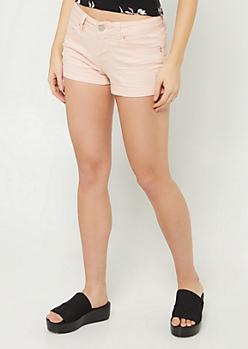 YMI Wanna Betta Butt Pink Low Rise Button Pocket Shorts