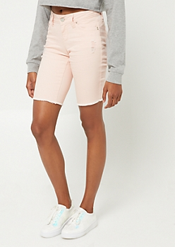 YMI Wanna Betta Butt Pink Distressed Frayed Hem Bermuda Shorts