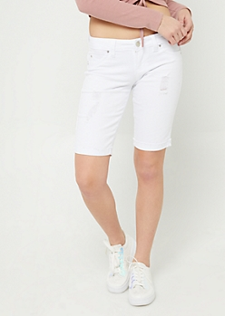 Better Butt White Raw Cuffed Bermuda Shorts