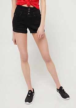 YMI Wanna Betta Butt Black High Waisted Triple Button Shorts