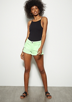 YMI Dream Neon Green Frayed Jean Shorts