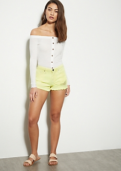 YMI Dream Neon Yellow Frayed Jean Shorts