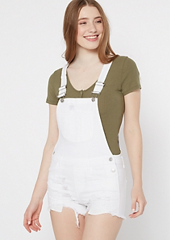White Distressed Frayed Hem Overall Shorts