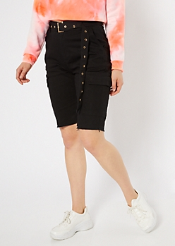 Black High Waisted Belted Cargo Bermuda Shorts