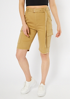 Khaki High Waisted Belted Cargo Bermuda Shorts