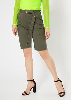 Olive High Waisted Belted Cargo Bermuda Shorts