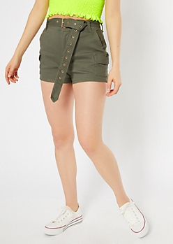 Olive High Waisted Belted Cargo Shorts