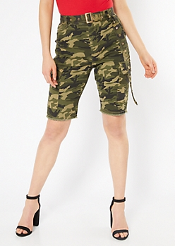 Camo Print High Waisted Belted Cargo Bermuda Shorts