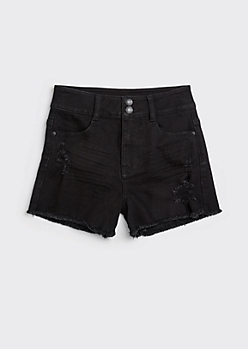 Recycled Black Ultra High Waisted Ripped Throwback Shorts