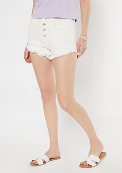 Cello White Button Front Frayed Shorts