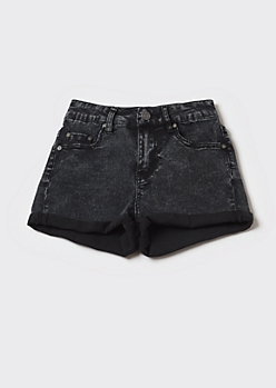 Washed Black Recycled High Waisted Cuffed Shorts